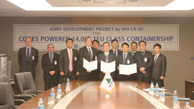 GE, HHI and LR sign project to develop gas turbine powered and electrically driven container ship design